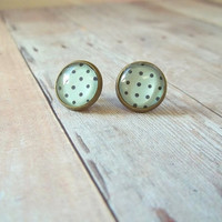 R E T R O - Mint Green and Black Polka Dot Photo Glass Cab Circle Antique Bronze Post Stud Earrings