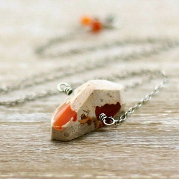 Mexican Boulder Opal Necklace, Oxidized Sterling Silver Orange Mexican Fire Opal Pendant October Birthstone Nugget Necklace