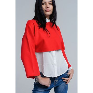 Red knitted crop sweater with bell sleeves