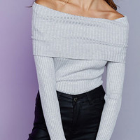 Foldover Off The Shoulder Sweater