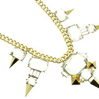 Clear Gem and Gold Spear Necklace