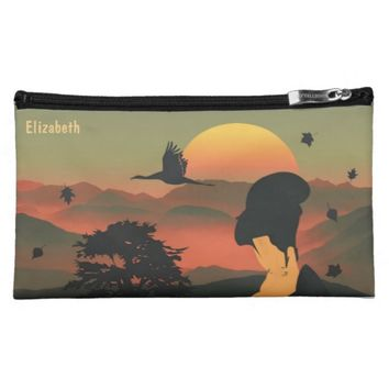 Japanese Green Pink Geisha Tree Rising Sun Makeup Bags