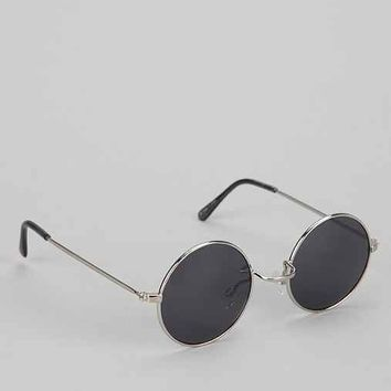 Metal Round Sunglasses- Silver One