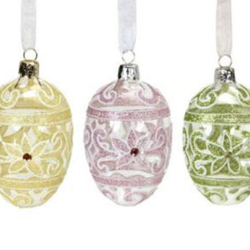 15 Easter Ornaments - Accented With Glitter And Acrylic Gemstones