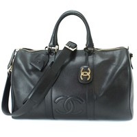 Auth CHANEL Luggage 2WAY Shoulder Bag Cavier Skin Leather Black 90040593