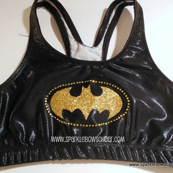 Batty Rhinestone Glitter Super Hero Metallic by SparkleBowsCheer