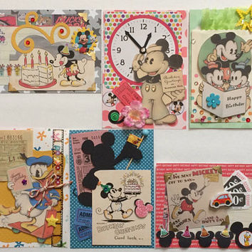 Vintage Mickey Mouse Happy Birthday Greeting Card KIT 6 cards ephemera trinkets