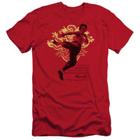 Bruce Lee Immortal Dragon Red Fine Jersey T-Shirt