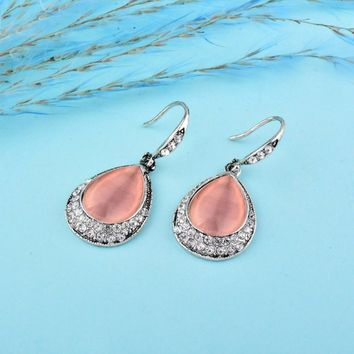 Water Drop Opal Stone Dangle Drop Earrings 24