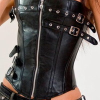 Sexy Black Faux Leather Corset with Zip Front & Buckles, Goth Steampunk