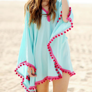 Blue Tasseled Chiffon Beach Cover-Up