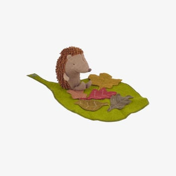 Little Hedgehog with Leaf Blanket