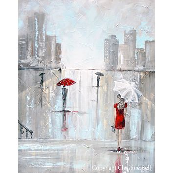 """After The Theater"" Giclee Canvas Print, Woman with Umbrella Painting Cityscape"