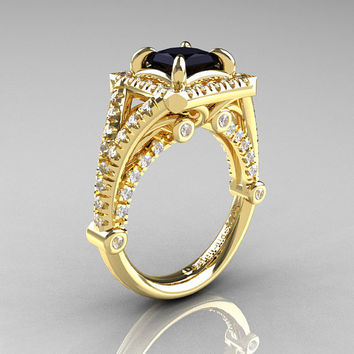 Modern Art Nouveau 14K Yellow Gold 1.23 Carat Princess Black and White Diamond Engagement Ring, Wedding Ring R336-14KYGDBD