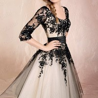 Sheer Half Sleeve Floral Prom Ball Formal Party Gowns Dress Wedding Bridesmaid  LF090-in Prom Dresses from Apparel & Accessories on Aliexpress.com
