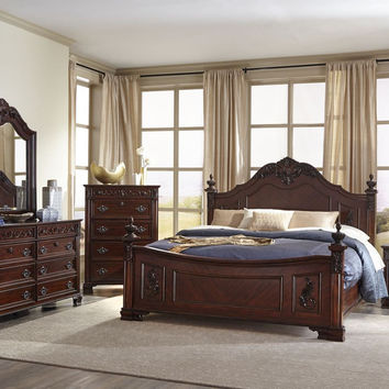 Mansion Cherry King Bedroom Set by Lifestyle Furniture