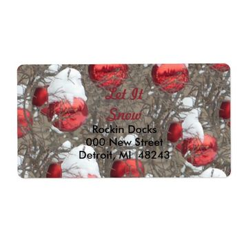 Let It Snow Bright Red Ornaments Label
