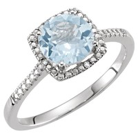 Sterling Silver Sky Blue Topaz & .01 CTW Diamond Halo-Style Ring