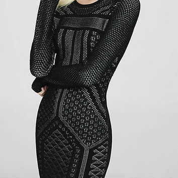 Black Jacquard Geo Design Sweater Dress from EXPRESS