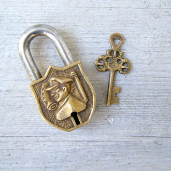 Retro Brass Heavy Padlock and Key, Safeguard Working Lock and key, Ornate Engraved Jailer Padlock, House Home Furniture Restoration Man Gift