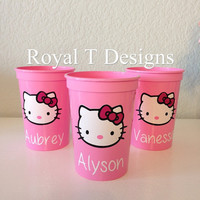 12oz Pink Personalized Hello Kitty Party Favor Cups