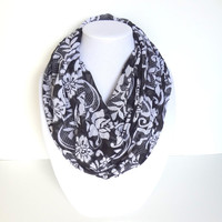 Floral Infinity Scarf, Black Printed Scarf, Lightweight scarf, Rose flower scarf
