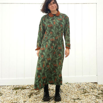 Vintage Eddie Bauer Prairie Dress - Autumn Colors - Boho - Corduroy - SZ S / M