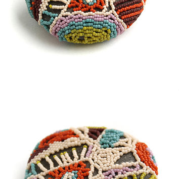 Colorful beaded rock Unique home decor One of a kind Unusual handmade Freeform Lace stone Pebble art Paperweight Art object Boho style decor