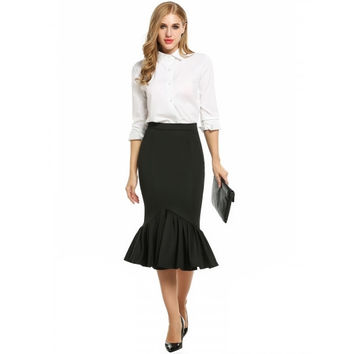 Women High Waisted Solid Wear To Work Bodycon Mermaid Midi Pencil Skirt