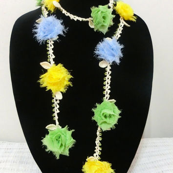 50% OFF Sale, Floral Crochet Necklace, Fashion Jewelry, Floral Scarf, Mother's Day Gift Ideas, Ready to Ship, Free Gift Wrapping