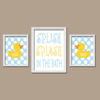 Duck Bathroom Wall Art CANVAS or Prints Child Boy Bathroom Rubber Ducky Bath Aqua Yellow Splish Splash in the Bath Polka Dots Set of 3