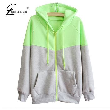 CHRLEISURE Autumn Winter Hoodies Sweatshirt Women Bts Casual Zipper Hoodie Long Sleeve Workout Jacket 4 Colors