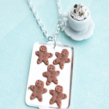 gingerbread cookies and coffee necklace