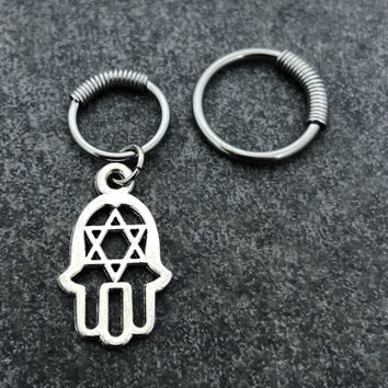316L Surgical Stainless Solid Steel Hamsa 16g, spring captive ring, Helix, cartilage, tragus earring