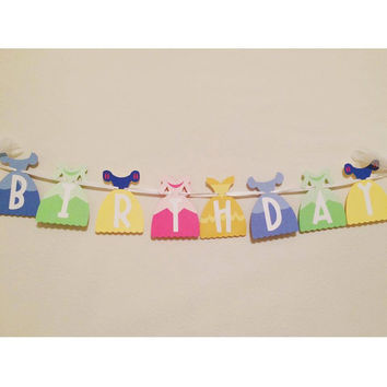 Princess Dress Inspired Birthday Banner; Personalized Happy Birthday Banner; Princess Birthday Party (Handmade)