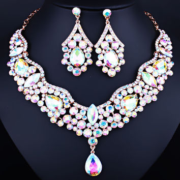 Charm Wedding Jewelry Color Crystal Rhinestones Water Drop Necklace Earrings Set for Women Fashion Bridal Jewelry sets
