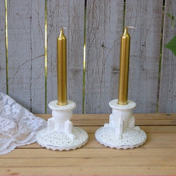 White shabby chic candlesticks