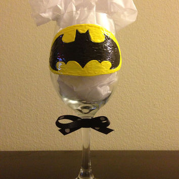 Hand-painted Batman Wine Glass