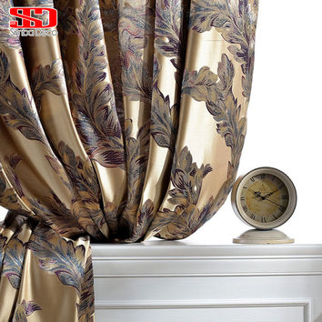 Luxury Blackout Curtains For Living Room Peacock Feather Blinds Jacquard Drapes For Bedroom Chinese Window Shading Ready Panels