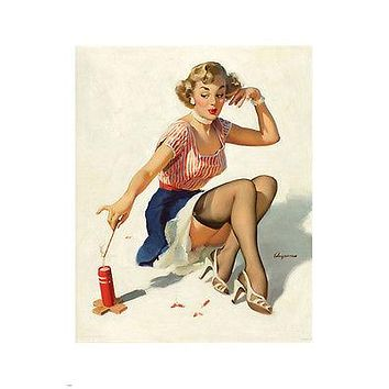 vintage 1953 LOOKING FOR TROUBLE pin-up poster 24X36 GIRL & FIRE CRACKER