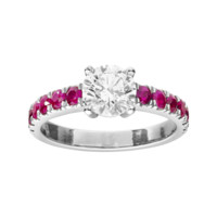 Diamond ring with rubies white gold for immediate delivery | RenéSim
