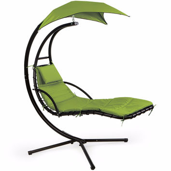 Patio Swing Chair Lounger Hammock Sun Canopy, Green