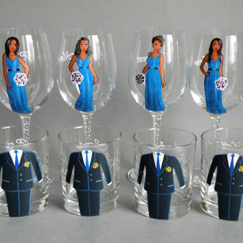 Hand painted bachelor party Personalized Whiskey or Beer glasses Customized Suits or Outfits Gift