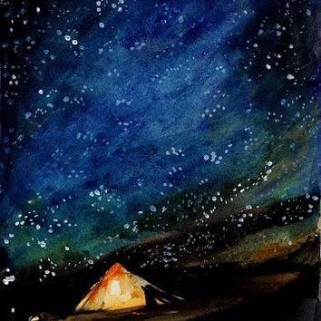 Tee Pee, watercolor painting, Abstract bohemian art, landscape camp hut, stary night, stars blue sky, original fineart, wall decor, camper