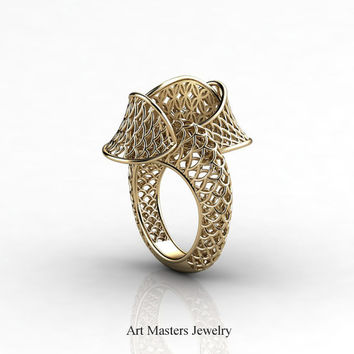 Yerevan - Cathartic Beauty 14K Yellow Gold Modern Rococo Lace Ring R530-14KYG