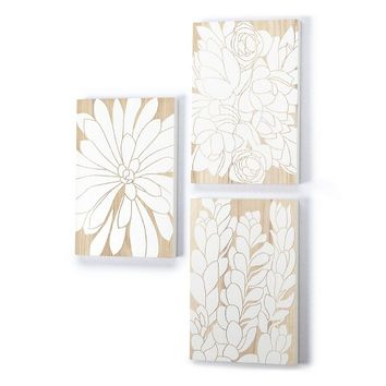 Wood Panel Decor Floral - White
