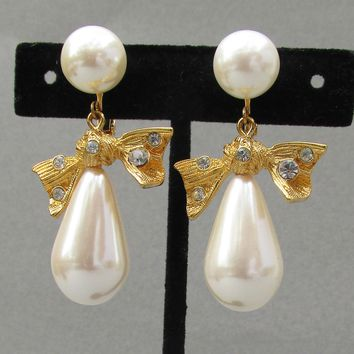 BIG Vintage Signed MARVELLA Rhinestone Bow & Faux Pearl Dangle Earrings