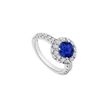 Diffuse Sapphire and Diamond Halo Engagement Ring 14K White Gold 1.30 CT TGW