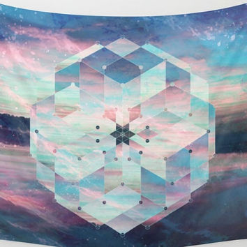 Water Mandala Teal Wall Tapestry Yoga Meditation Mandala Wall Hanging
