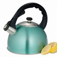 Creative Home Satin Splendor 2.8-Quart Whistling Tea Kettle, Aqua